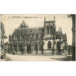 carte postale ancienne 27 LOUVIERS. Eglise Notre-Dame et Café