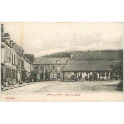 carte postale ancienne 27 LYONS-LA-FORET. Place du Marché 1918
