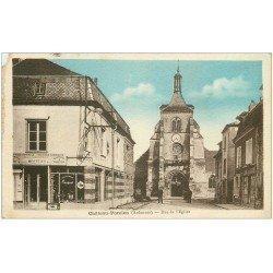 carte postale ancienne 08 CHATEAU-PORCIEN. Rue de l'Eglise 1933. Magasin Peugeot (défaut)...
