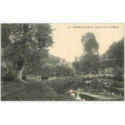 carte postale ancienne 27 MARCILLY-SUR-EURE. Vaches Prairie du Moulin