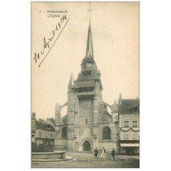 carte postale ancienne 27 NONANCOURT. L'Eglise belle animation 1924 verso vierge