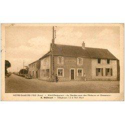 carte postale ancienne 27 NOTRE-DAME-DE-L'ISLE. Hôtel Restaurant au Rendez-vous des Pêcheurs et Chasseurs 1943