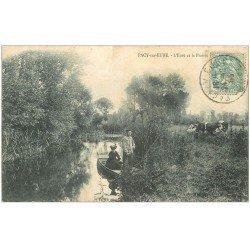 carte postale ancienne 27 PACY-SUR-EURE. Canotage sur l'Eure et Vache dans la Prairie 1905