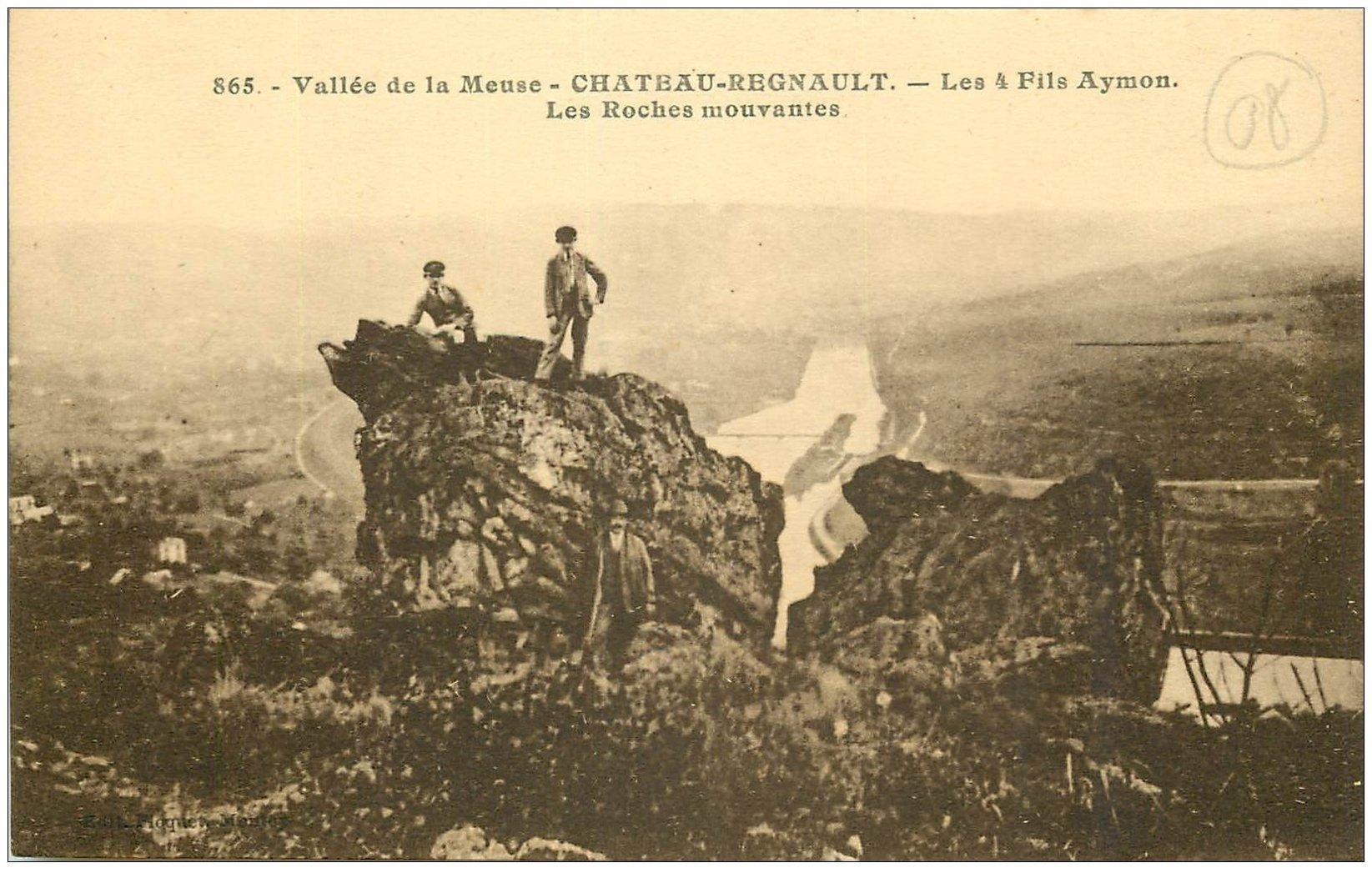 carte postale ancienne 08 CHATEAU-REGNAULT. Les Roches mouvantes. Les 4 Fils d'Aymon