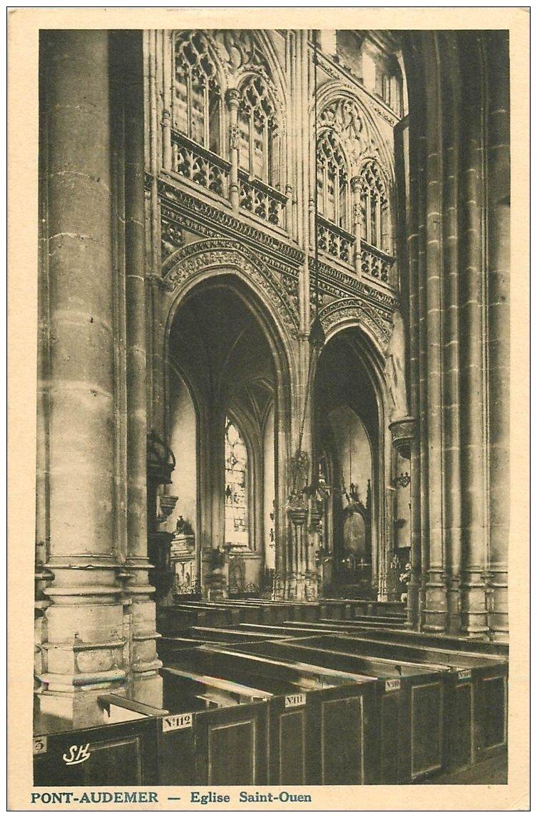 carte postale ancienne 27 PONT-AUDEMER. Eglise Saint-Ouen intérieur