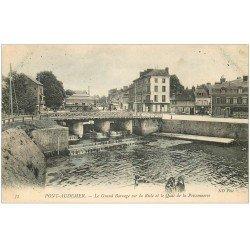 carte postale ancienne 27 PONT-AUDEMER. Le Barrage Quai de la Poissonnerie