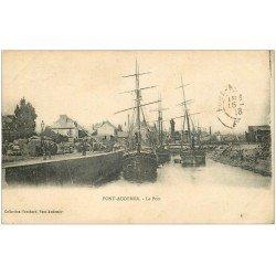 carte postale ancienne 27 PONT-AUDEMER. Le Port 1918 Bateaux de Pêche