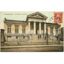 carte postale ancienne 27 PONT-AUDEMER. Palais de Justice carte toilée 1919