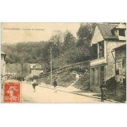 carte postale ancienne 27 PONT-AUDEMER. route de Quilleboeuf 1911. Affiche Cocolat Ibled