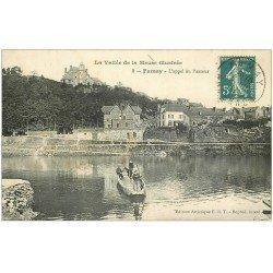 carte postale ancienne 08 FUMAY. L'Appel au Passeur en barque 1911