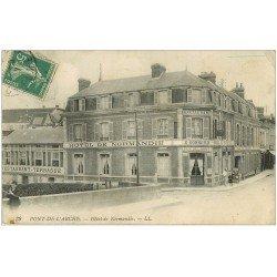 carte postale ancienne 27 PONT-DE-L'ARCHE. Hôtel de Normandie et Café Connord 1912
