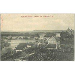 carte postale ancienne 27 PONT-DE-L'ARCHE. Pont, Eglise et Tour