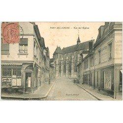 carte postale ancienne 27 PONT-DE-L'ARCHE. Rue de l'Eglise 1907 Tabac Favard