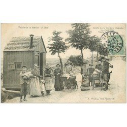 carte postale ancienne 08 GIVET. Douane Frontière Route de la Maison Blanche. Timbre Taxe 1906. Douaniers et poussettes