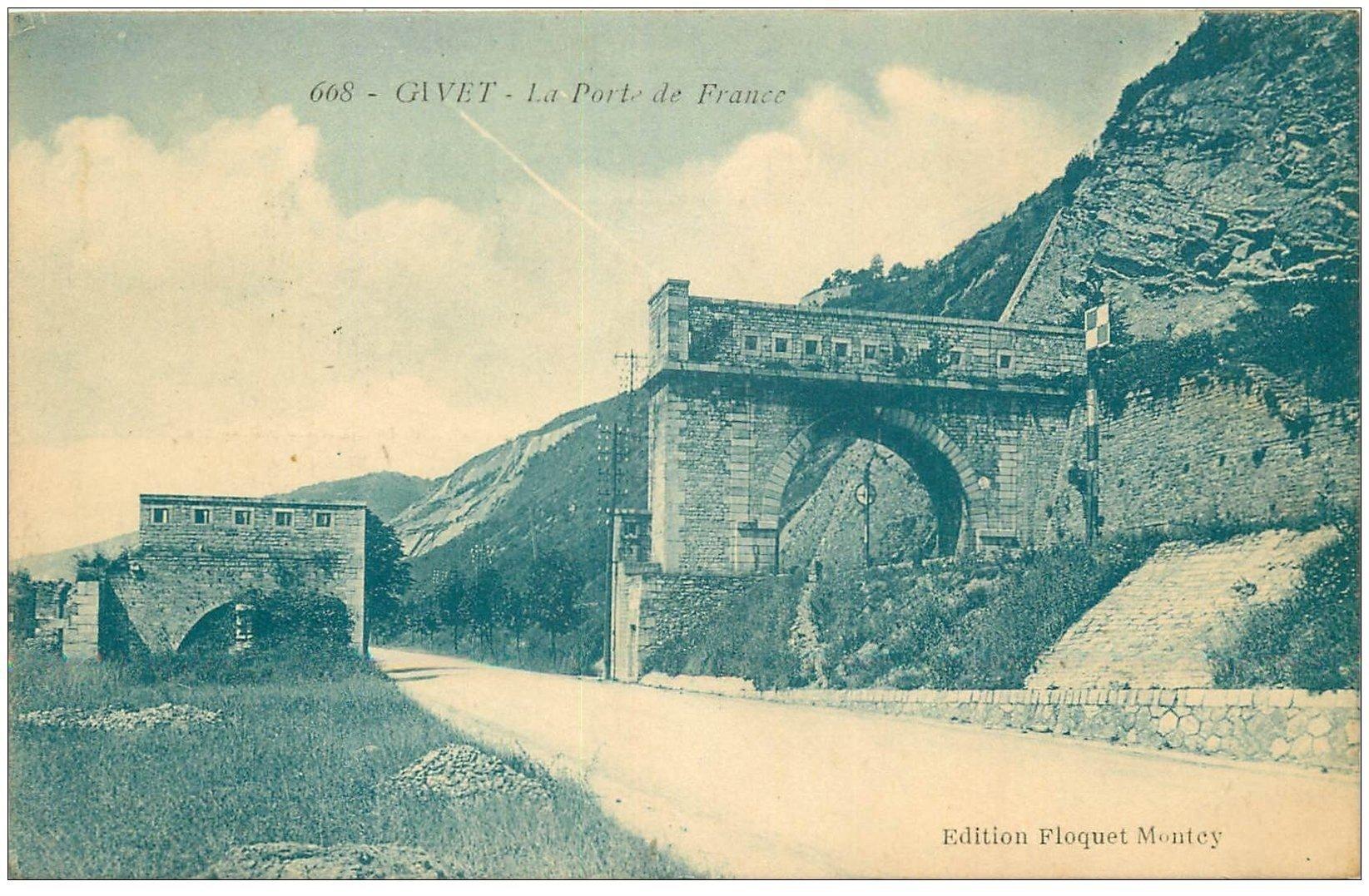 carte postale ancienne 08 GIVET. Porte de France 1926