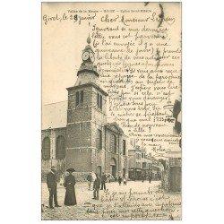 carte postale ancienne 08 GIVET. Sortie d'Eglise Saint-Hilaire 1904