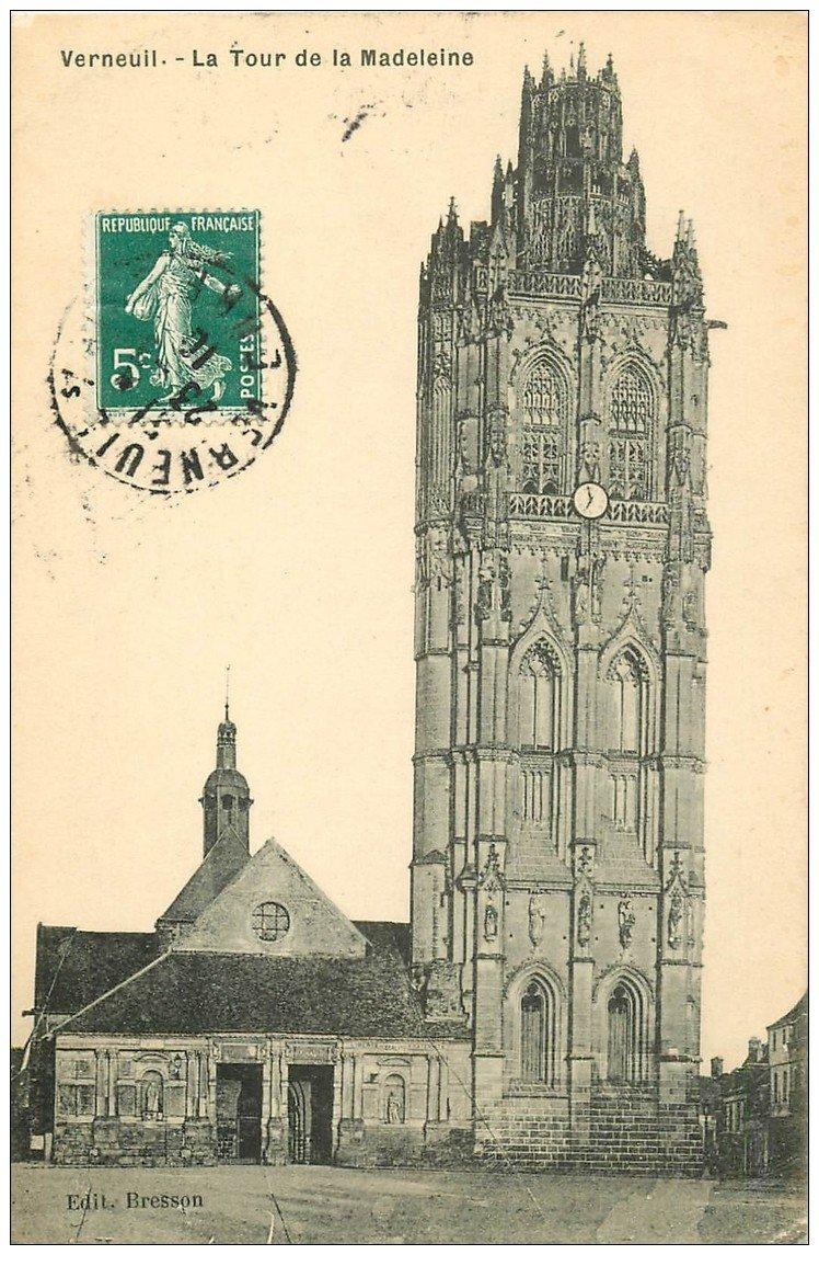 carte postale ancienne 27 VERNEUIL-SUR-AVRE. Eglise de la Madeleine 1910