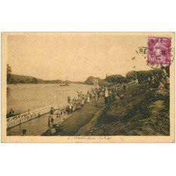 carte postale ancienne 27 VERNON. La Plage 1934