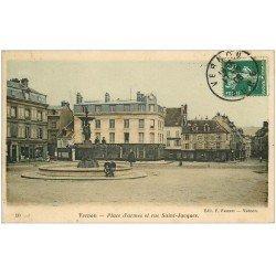 carte postale ancienne 27 VERNON. Place d'Armes Rue Saint-Jacques 1908 Commerce Dufayel