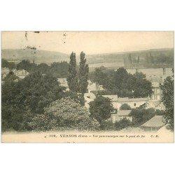 carte postale ancienne 27 VERNON. Pont de Fer 1912