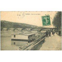 carte postale ancienne 27 VERNON. Pont sur la Seine 1913