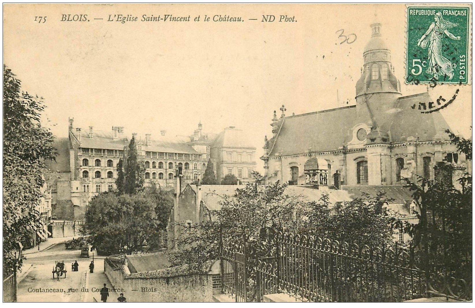 carte postale ancienne 41 BLOIS. Eglise Saint-Vincent 175