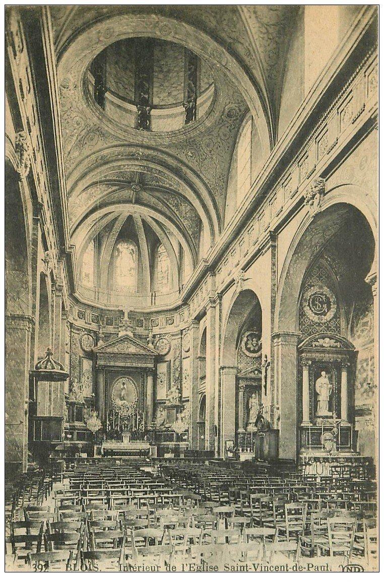 carte postale ancienne 41 BLOIS. Eglise Saint-Vincent-de-Paul. Intérieur 392