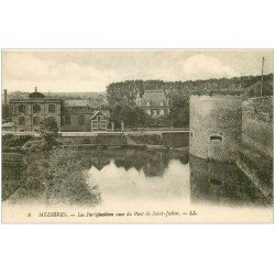 carte postale ancienne 08 MEZIERES. Fortifications vues du Pont Saint-Julien