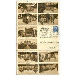 carte postale ancienne 41 CHAMBORD. Le Château. Carte en 3 parties dépliables 1952