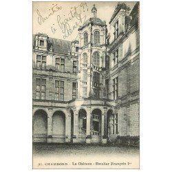 carte postale ancienne 41 CHAMBORD. Le Château. Escalier François I°