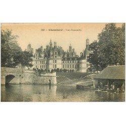 carte postale ancienne 41 CHAMBORD. Le Château. Lavandières 1916