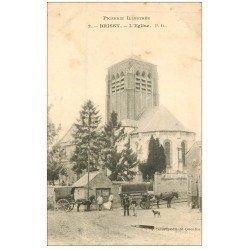 carte postale ancienne 02 BRISSY. L'Eglise 1905. Facteur et Attelages de livraison