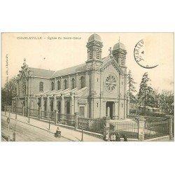 carte postale ancienne 08 MEZIERES. L'Eglise du Sacré-Coeur 1908. Enfants et Publicité Picon