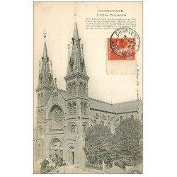 carte postale ancienne 08 MEZIERES. L'Eglise Paroissiale 1908. Livraison de plantes sur le Perron