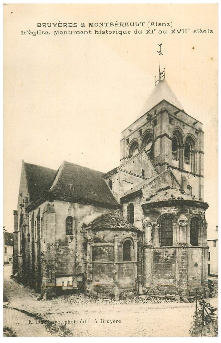 carte postale ancienne 02 BRUYERES et MONTBERAULT. L'Eglise