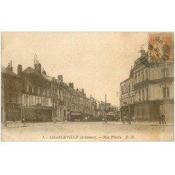 carte postale ancienne 08 MEZIERES. Rue Thiers vers 1920. Magasin Confections