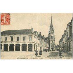 carte postale ancienne 41 MONDOUBLEAU. Mairie et Eglise 1909