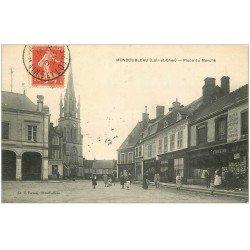 carte postale ancienne 41 MONDOUBLEAU. Place du Marché 1907. Maison Foreau Cartes Postales