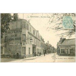 carte postale ancienne 41 MONTOIRE. Hôtel du Cheval Rouge Rue Saint-Denis 1906