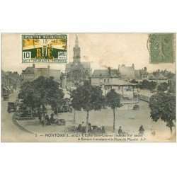 carte postale ancienne 41 MONTOIRE. Kiosque à Musique Place du Marché 1925