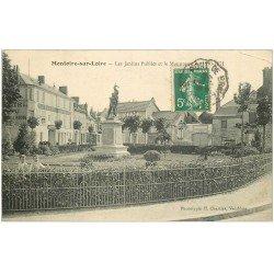 carte postale ancienne 41 MONTOIRE. Monument aux Jardins Publics 1914 Hôtel Cheval Rouge