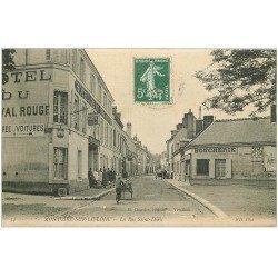carte postale ancienne 41 MONTOIRE. Rue Saint-Denis Boucherie et Hôtel du Cheval Rouge