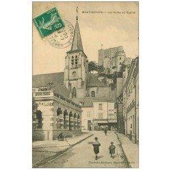 carte postale ancienne 41 MONTRICHARD. Halles et Eglise 1910. Epicerie Félix-Potin