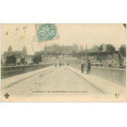carte postale ancienne 41 SAINT-AIGNAN. Vue du Pont 1907