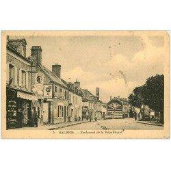 carte postale ancienne 41 SALBRIS. Boulevard de la République magasin de Cartes Postales. Inscription Yacco