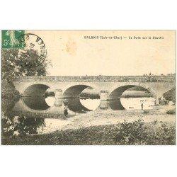 carte postale ancienne 41 SALBRIS. Pont sur la Sauldre 1913 Jeunes pêcheurs