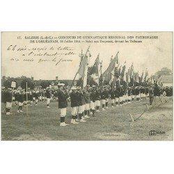 carte postale ancienne 41 SALBRIS. Salut aux Drapeaux. Concours de Gymnastique 1914