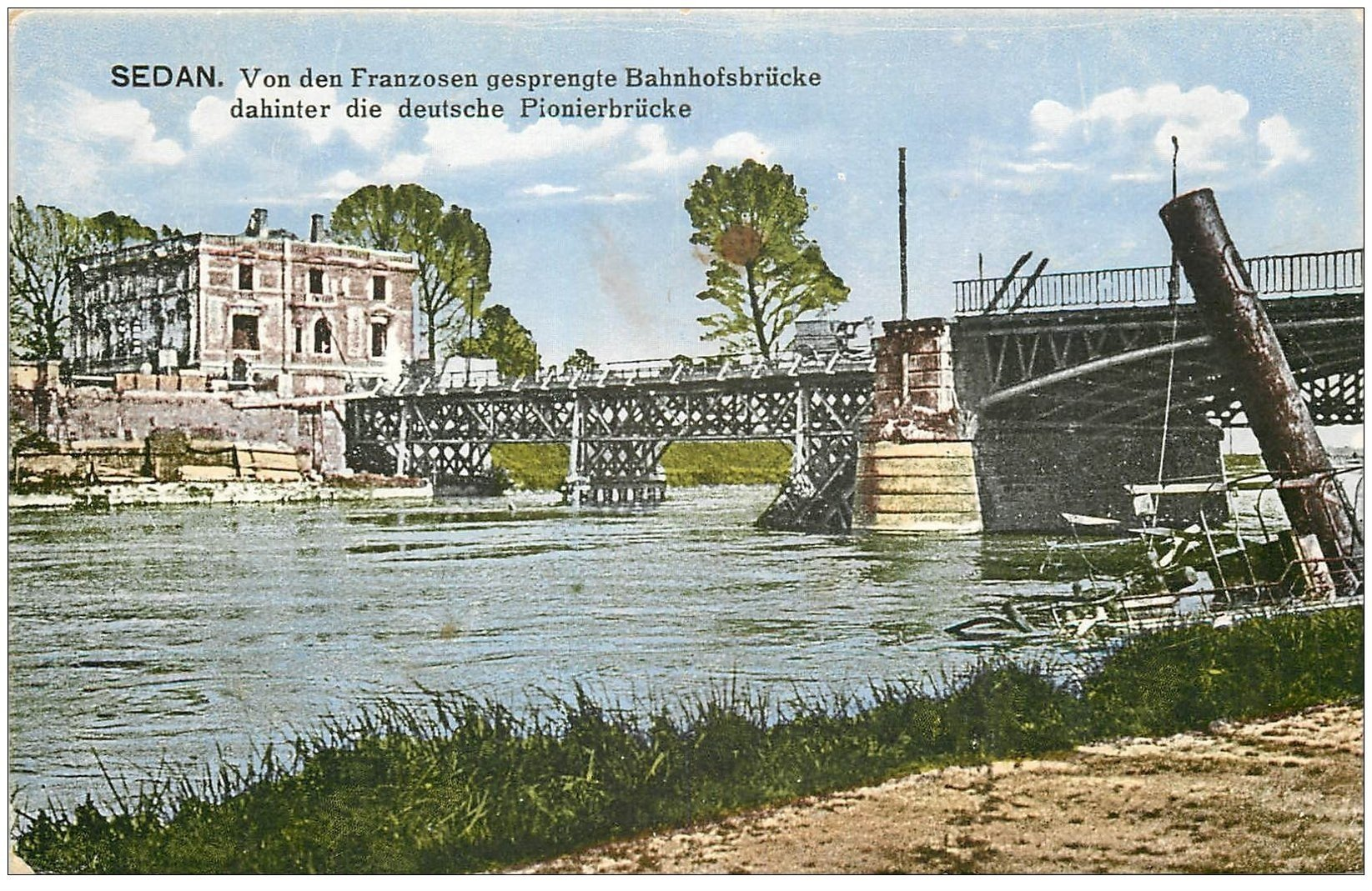 carte postale ancienne 08 SEDAN. Bahnhofsbrücke. Pont 1917