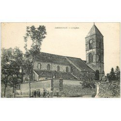 carte postale ancienne 51 AMBONNAY. L'Eglise 1918 animation