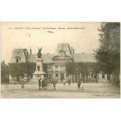 carte postale ancienne 08 SEDAN. Bibliothèque et Ecole Place d'Alsace 1913